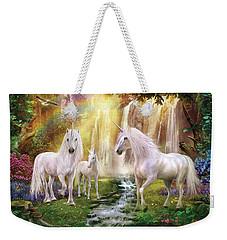 Waaterfall Glade Unicorns Weekender Tote Bag by Jan Patrik Krasny