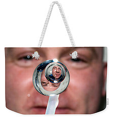 Weekender Tote Bag featuring the photograph Water Droplet On The Iss by Science Source