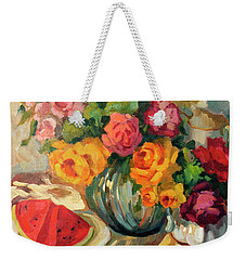 Watermelon And Roses Weekender Tote Bag by Diane McClary