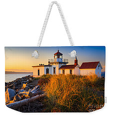 West Point Lighthouse Weekender Tote Bag by Inge Johnsson