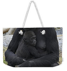 Western Lowland Gorilla Mother And Baby Weekender Tote Bag by San Diego Zoo