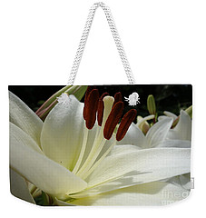 White Asiatic Lily Weekender Tote Bag by Jacqueline Athmann