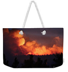 Weekender Tote Bag featuring the photograph White Draw Fire First Night by Bill Gabbert
