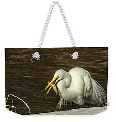 White Egret Snowy Bank Weekender Tote Bag by Robert Frederick