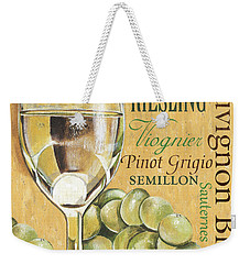 White Wine Text Weekender Tote Bag by Debbie DeWitt