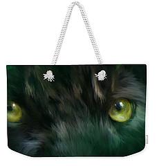 Wild Eyes - Black Panther Weekender Tote Bag by Carol Cavalaris