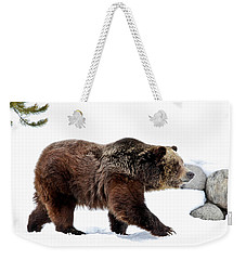 Winter Bear Walk Weekender Tote Bag by Athena Mckinzie