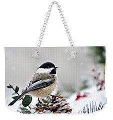 Winter Chickadee Weekender Tote Bag by Christina Rollo