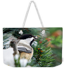 Winter Chickadee With Seed Weekender Tote Bag by Christina Rollo