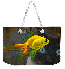 Wishful Thinking - Cat And Fish Art By Sharon Cummings Weekender Tote Bag by Sharon Cummings