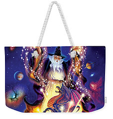 Wizard Dragon Spell Weekender Tote Bag by Andrew Farley