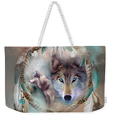 Wolf - Dreams Of Peace Weekender Tote Bag by Carol Cavalaris
