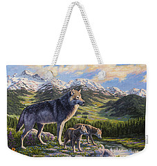 Wolf Painting - Passing It On Weekender Tote Bag by Crista Forest