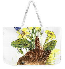 Wren In Primroses  Weekender Tote Bag by Nell Hill