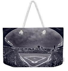 Wrigley Field Night Game Chicago Bw Weekender Tote Bag by Steve Gadomski