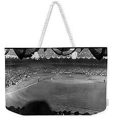 Yankees Defeat Giants Weekender Tote Bag by Underwood Archives