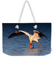 Yellow-billed Stork Hunting For Food Weekender Tote Bag by Johan Swanepoel