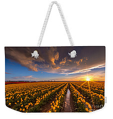 Yellow Fields And Sunset Skies Weekender Tote Bag by Mike Reid