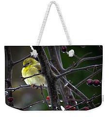 Yellow Finch Weekender Tote Bag by Karen Wiles