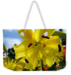Yellow Whopper Lily 2 Weekender Tote Bag by Jacqueline Athmann