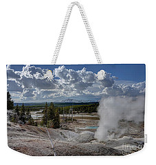 Weekender Tote Bag featuring the photograph Yellowstone's Norris Geyser Basin by Bill Gabbert
