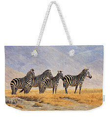 Zebras Ngorongoro Crater Weekender Tote Bag by David Stribbling