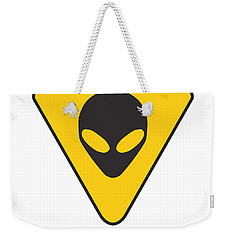 Alien Grey Hazard Graphic Weekender Tote Bag by Pixel Chimp