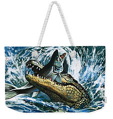 Alligator Eating Fish Weekender Tote Bag by English School