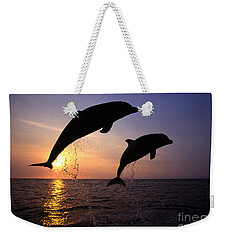 Bottlenose Dolphins Weekender Tote Bag by Francois Gohier and Photo Researchers