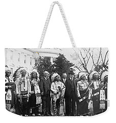 Coolidge With Native Americans Weekender Tote Bag by Photo Researchers