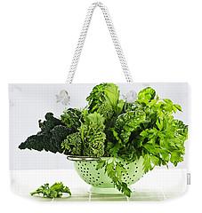 Dark Green Leafy Vegetables In Colander Weekender Tote Bag by Elena Elisseeva