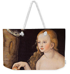 Eve Offering The Apple To Adam In The Garden Of Eden And The Serpent Weekender Tote Bag by Cranach