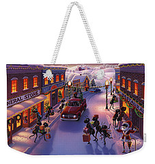 Holiday Shopper Ants Weekender Tote Bag by Robin Moline