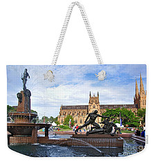 Hyde Park Fountain And St. Mary's Cathedral Weekender Tote Bag by Kaye Menner