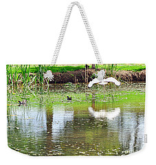 Ibis Over His Reflection Weekender Tote Bag by Kaye Menner