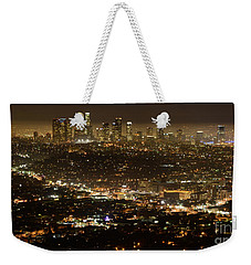 Los Angeles  City View At Night  Weekender Tote Bag by Bob Christopher