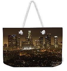 Los Angeles Skyline At Night Weekender Tote Bag by Bob Christopher