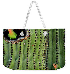 Lovebirds And The Saguaro  Weekender Tote Bag by Saija  Lehtonen