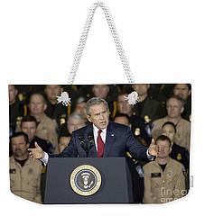 President George W. Bush Speaks Weekender Tote Bag by Stocktrek Images
