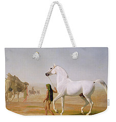 The Wellesley Grey Arabian Led Through The Desert Weekender Tote Bag by Jacques-Laurent Agasse