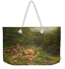 Foxes Waiting For The Prey   Weekender Tote Bag by Carl Friedrich Deiker