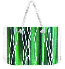 Abstract Lines On Green Weekender Tote Bag by Irina Sztukowski