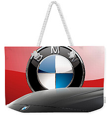 Black B M W - Front Grill Ornament And 3 D Badge On Red Weekender Tote Bag by Serge Averbukh