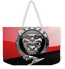 Black Jaguar - Hood Ornaments And 3 D Badge On Red Weekender Tote Bag by Serge Averbukh