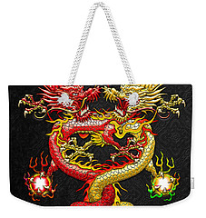 Brotherhood Of The Snake - The Red And The Yellow Dragons Weekender Tote Bag by Serge Averbukh