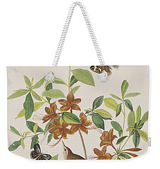 Brown Headed Worm Eating Warbler Weekender Tote Bag by John James Audubon