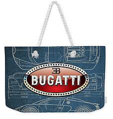 Bugatti 3 D Badge Over Bugatti Veyron Grand Sport Blueprint  Weekender Tote Bag by Serge Averbukh