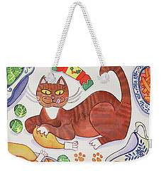 Christmas Cat And The Turkey Weekender Tote Bag by Cathy Baxter
