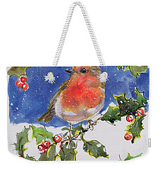 Christmas Robin Weekender Tote Bag by Diane Matthes