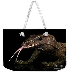 Close-up Varanus Rudicollis Isolated On Black Background Weekender Tote Bag by Sergey Taran